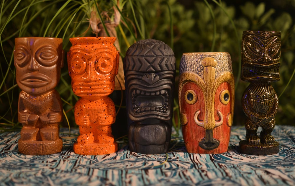 Munktiki-created tiki mugs based on tikis found at the Trader Vic's PDX location (hint, you can see several of them in the preceding photos).