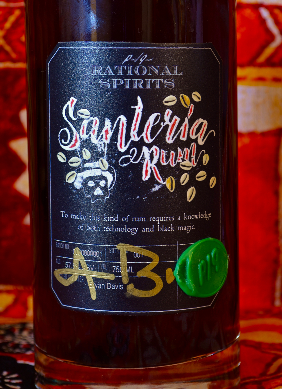 Santeria rum, original bottling.