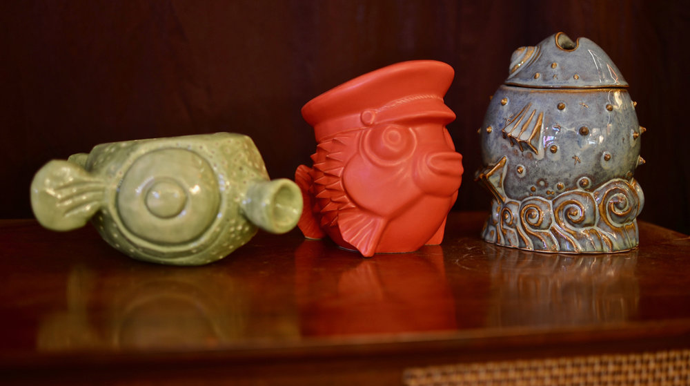 Fugu mugs from (left to right): Tiki tOny, Eekum Bookem, and Doug Horne.