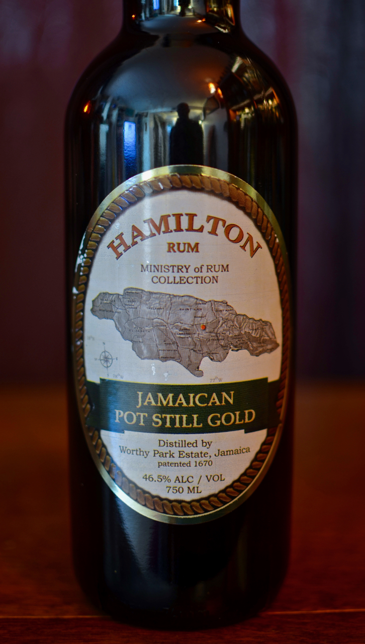 Current label for Hamilton Jamaican Pot Still Gold rum.