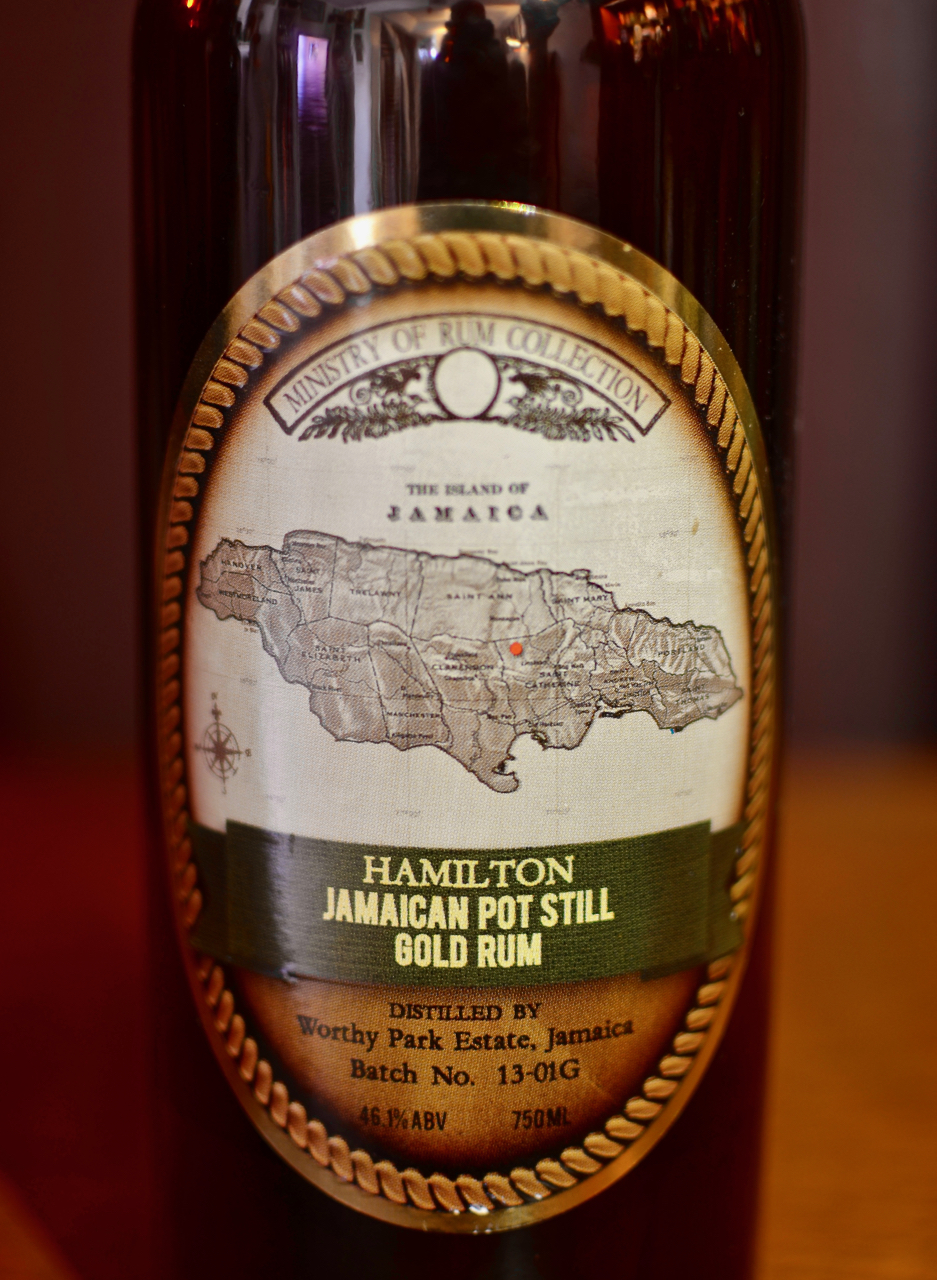 Previous label for Hamilton Jamaican Pot Still Gold rum.