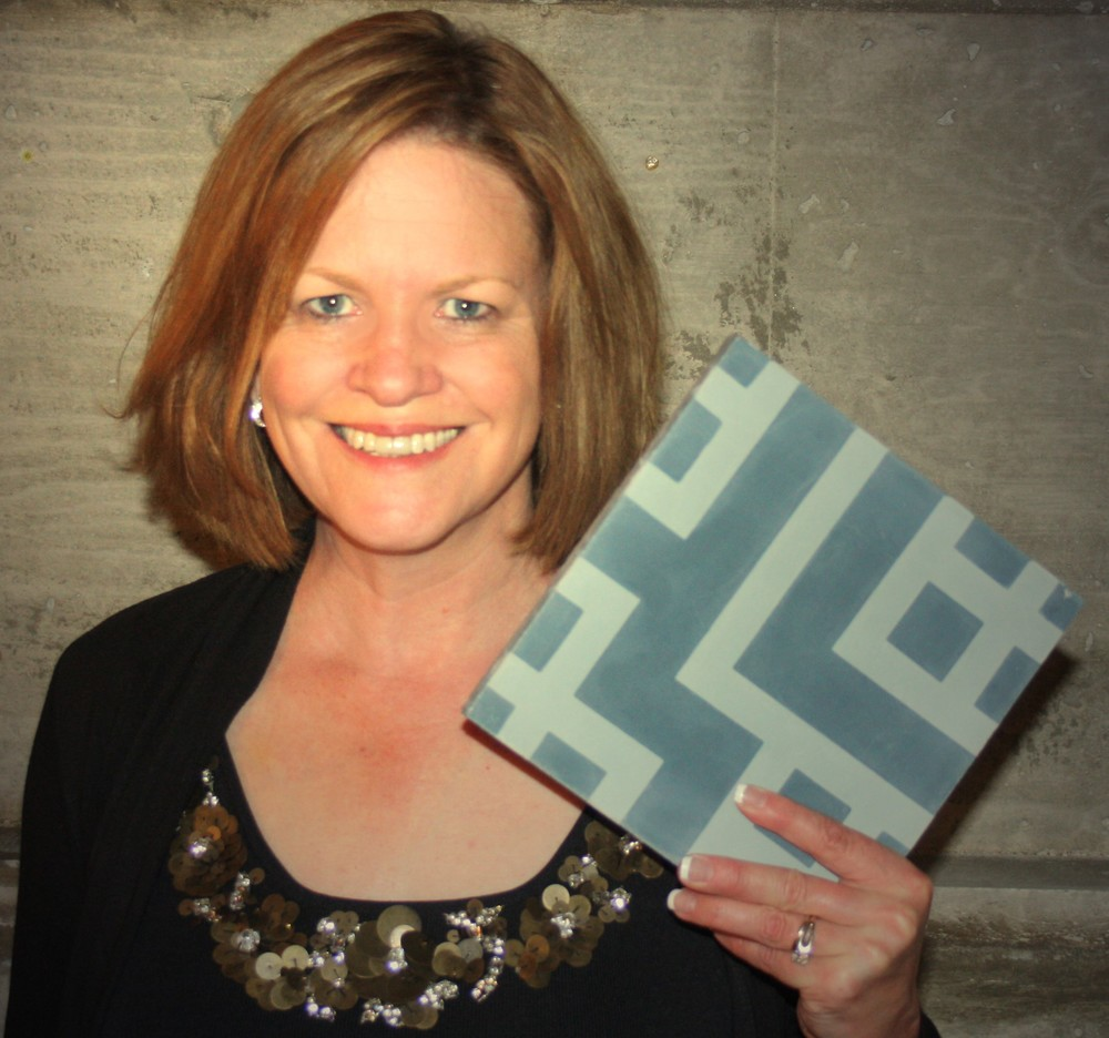 Karin Jeske, Founder, with Circuit, an exclusive tile from the Tesselle collection.