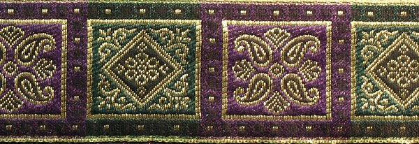 R231 1 3/4 Inch Gold Purple and Green Squares