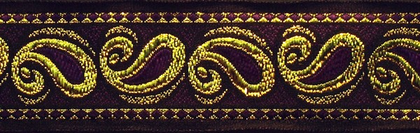 R233 1 1/2 Inch Gold and Purple Paisley