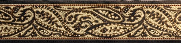R234 1 1/8 Inch Black Tan and Brown Paisley