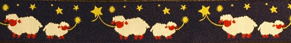 R147 3/4 Inch Sheep and Stars on Navy