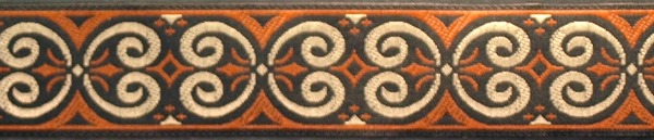 R98 I Inch Tan and Rust Scroll
