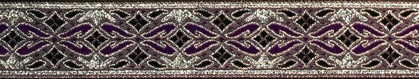 R166 7/8 Inch Silver and Purple Diamonds