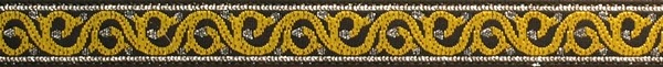 R169 1/2 Inch Silver and Yellow Curly-Cues