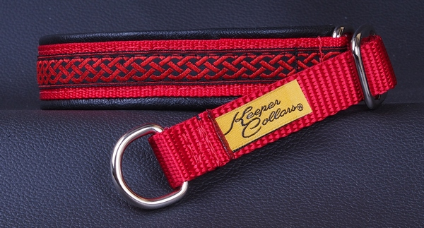 3-4 In Red Celtic Knot on Red with Black Leather Chrome.jpg