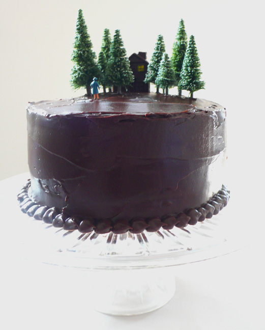 Cake: Three layer Chocolate Cake with Chocolate Ganache, miniatures, and a hand-molded and hand-painted chocolate house.