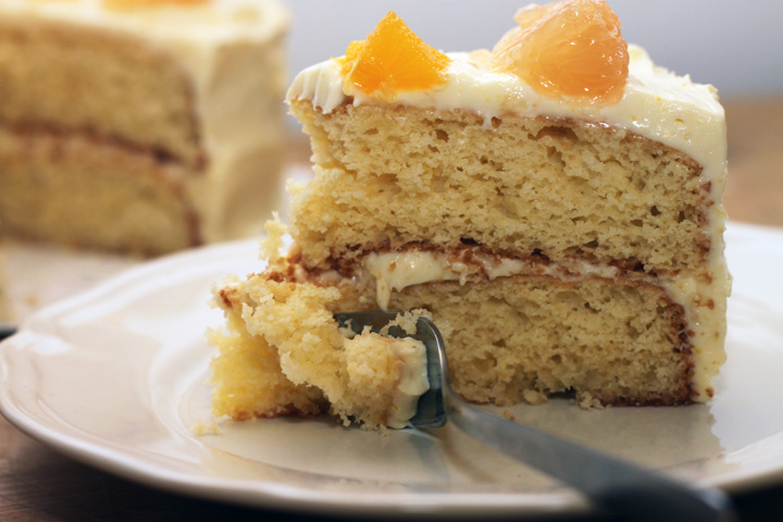 Cake: Two layers of Grapefruit-y Yellow Cake with Grapefruit Icing and fresh grapefruit segments.