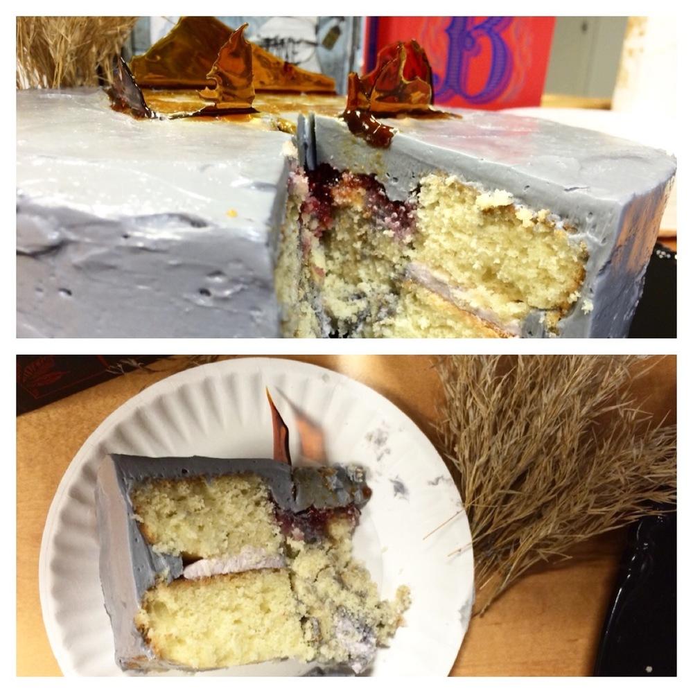 Two layers of Bergamot Vanilla Cake and Gray Sky Buttercream.
