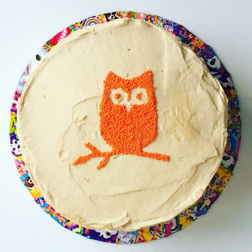 Birthday Cake for Danielle who like owls, the color orange, and Lisa Frank.