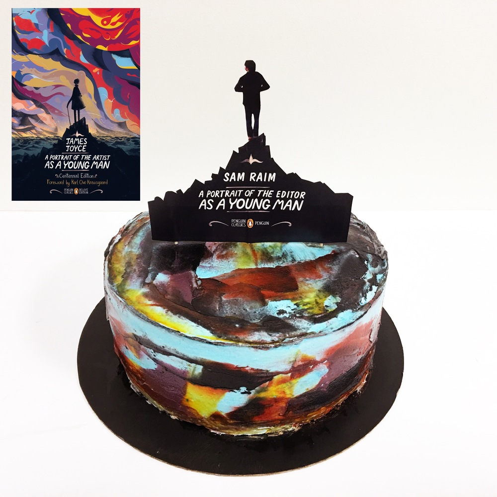 This cake was inspired by the new Penguin Graphics Classics edition of   The Portrait of the Artist as a Young Man  by James Joyce  and created to celebrate the promotion of a colleague.
