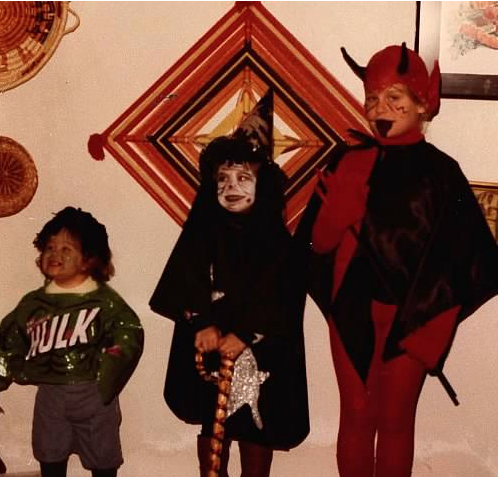 Shown here on Halloween, c 1980 or 81. From left, my younger sister, me, my older sister.