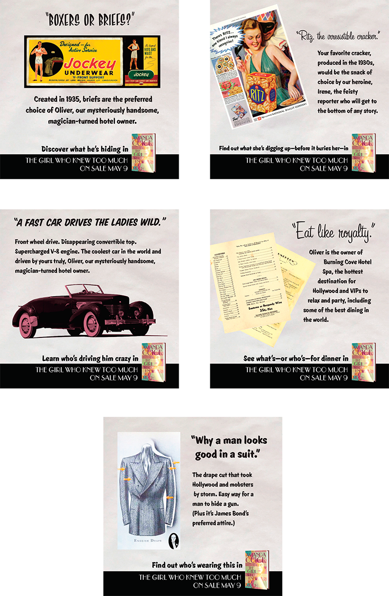 Social shares with design based on vintage advertisements from the 1930s, the era where the novel takes place.