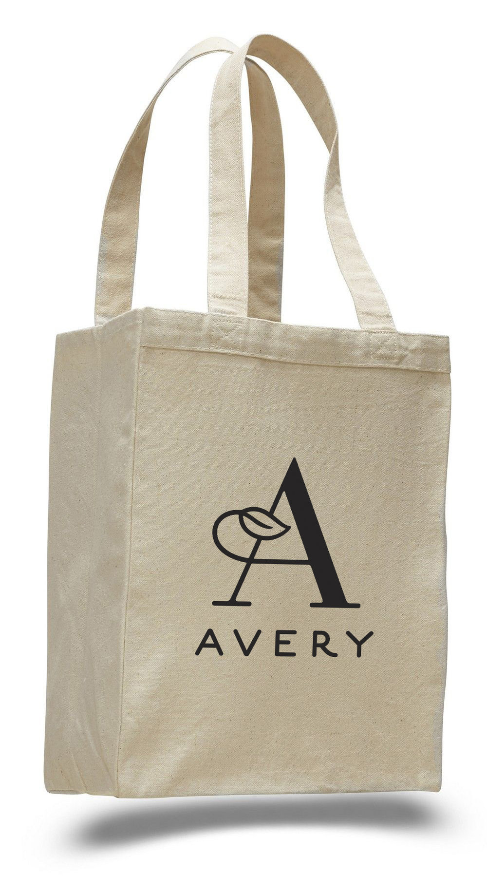 Promotional tote bag for the re-design of Avery's logo.