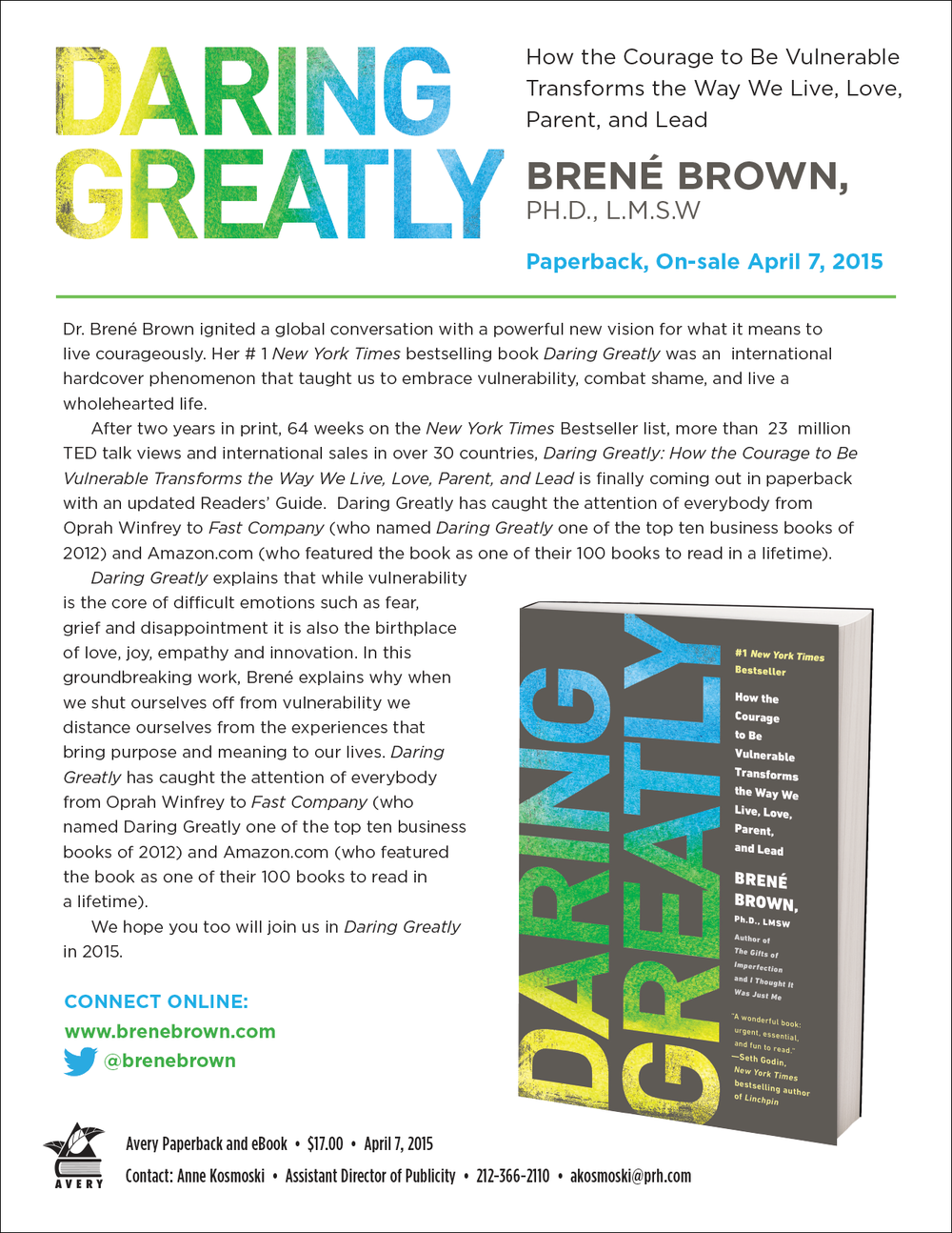Press Release for  Daring Greatly  by Brené Brown.