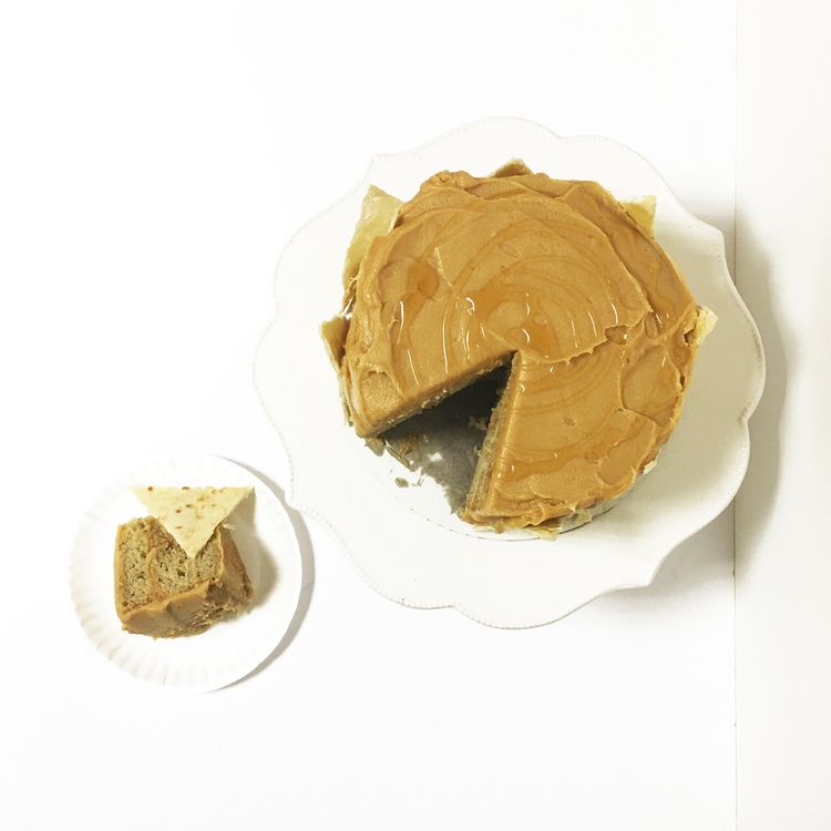 Banana Cake with Peanut Butter Honey Frosting and Honey-Baked Tortilla Chips