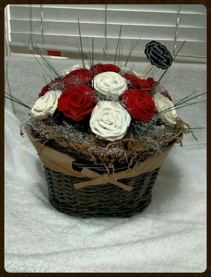 DENISE!!! Your cupcake bouquet basket is so gorgeous and the cupcakes look exactly like real roses! Thank you so much for sharing your talent with us! Please send more photos. We love this bouquet!!!