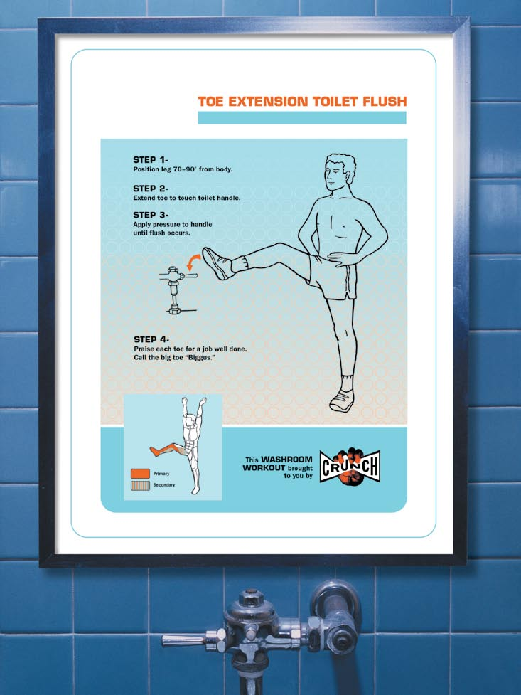 "Crunch ""Washroom Workout"" Posters"