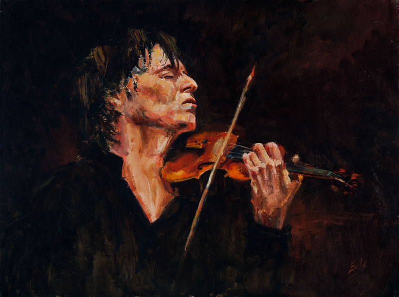 "iolinist  - 40"" x 30"", oil on canvas  (This was painted from a photo of Joshua Bell by Chris Lee) (private collection)"