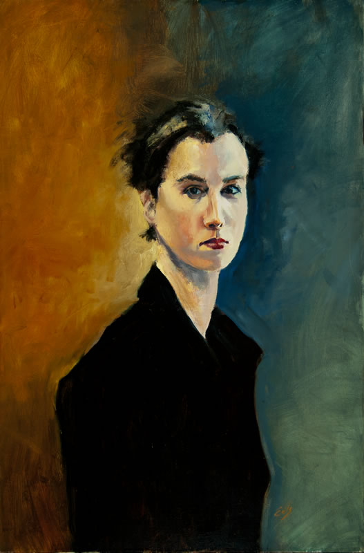 "Woman in Black Coat  - 24"" x 36"", oil on canvas"
