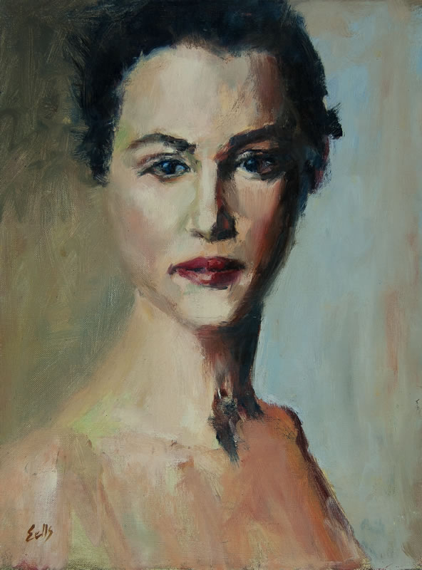 "Woman with Red Lips  - 12"" x 16"", oil on linen"