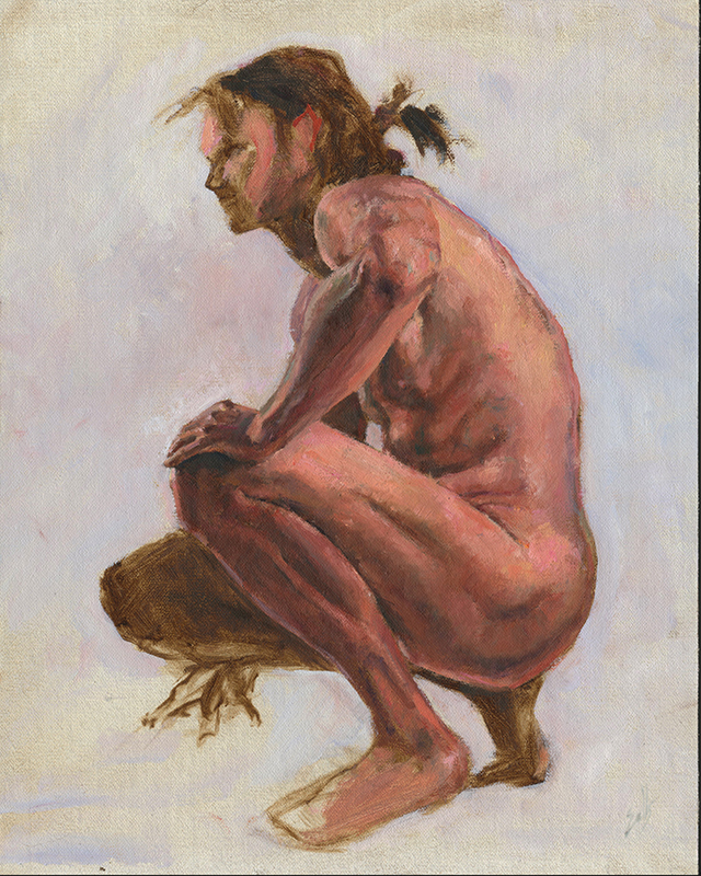 "Man in Crouch  - 12"" x 16"", oil on linen"