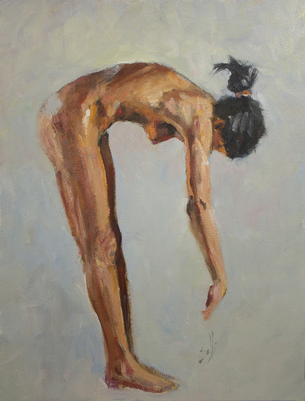 "Woman Leaning  - 12"" x 16"", oil on Arches oil paper"