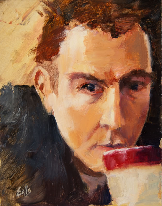 "Coffee Break -  8"" x 10"", oil on panel"