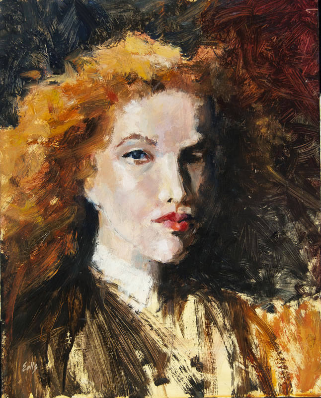 "Red Head  - 16"" x 20"", oil on panel (private collection)"