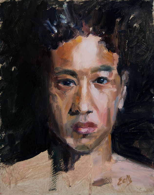 "Young Boxer  - 8"" x 10"", oil on panel"
