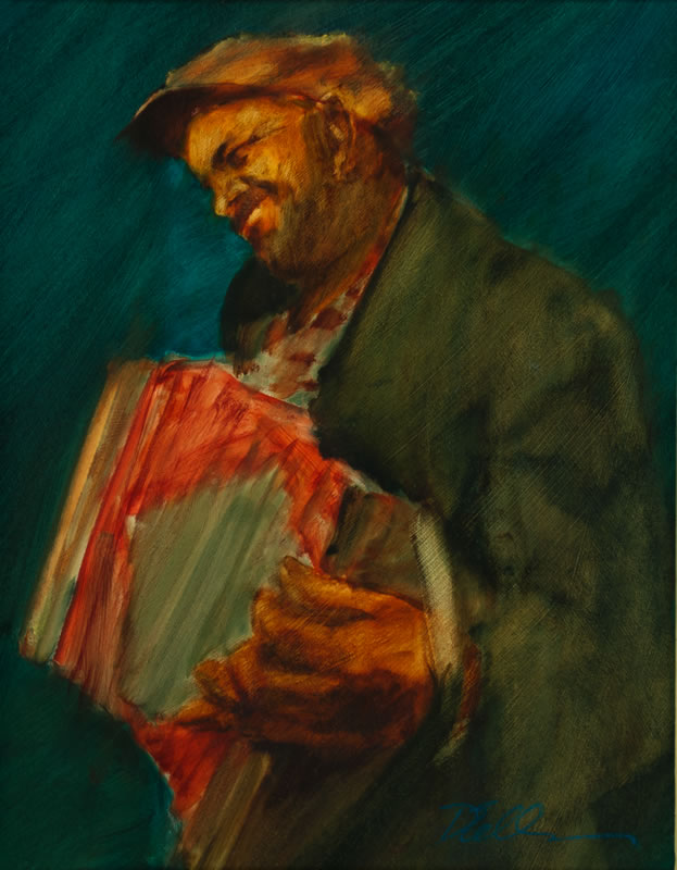 "Accordion Player  - 12"" x 15.5"", oil on board"