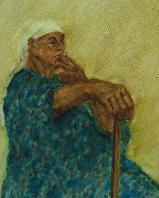 "Smoking in Blue Smock  - 15"" x 20"", oil on board"