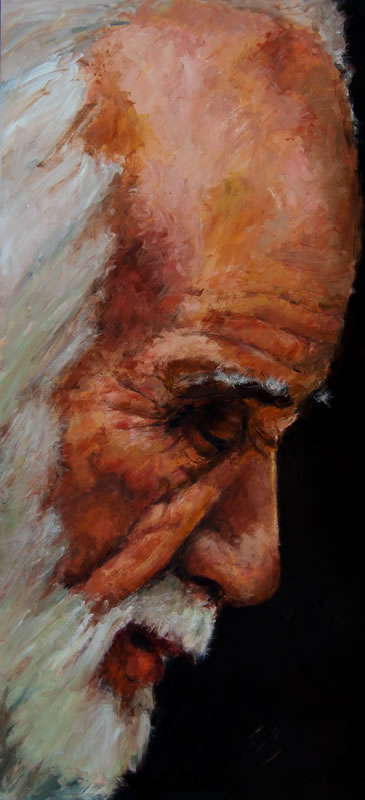 "Profile of Older Man  - 36"" x 80"", oil on panel"