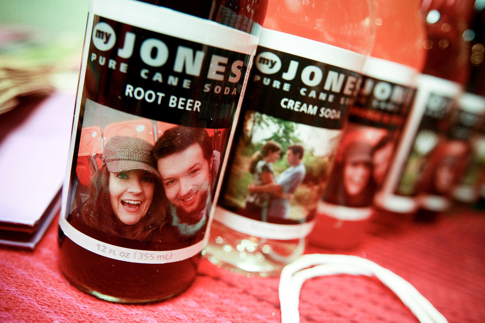 Custom Jones Soda wedding favors at a Catalyst Ranch wedding.