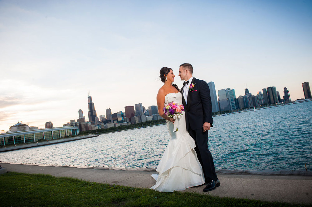 Chicago skyline portrait of bride & groom before their Shedd Aquarium wedding.