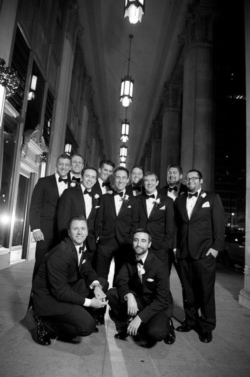 Groomsmen portrait outside the Civic Opera House Chicago.