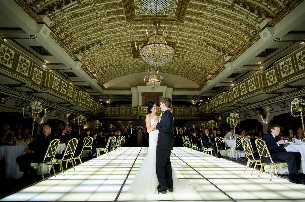 Couple's first dance during their Knickerbocker Hotel Chicago wedding.