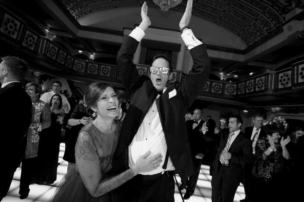 Parents of the bride party on the dance floor during their daughter's wedding at the Knickerbocker Hotel Chicago.
