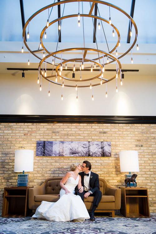 Creative bridal portrait at the Thompson Chicago Hotel.