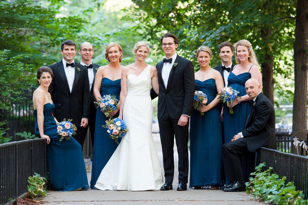 Bridal party portrait in Chicago's Gold Coast.