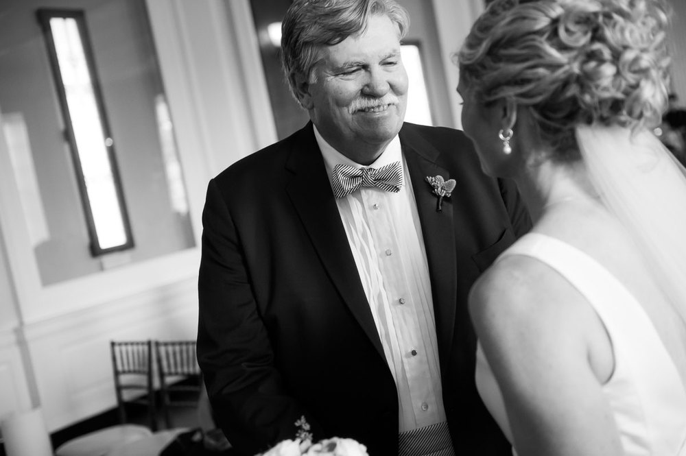 Father-of-the-bride give his daughter away on her wedding day at the Chicago History Museum.