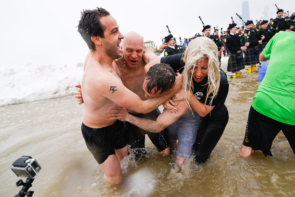 Lady Gaga and the cast of Chicago Fire during the   2015 Special Olympics Polar Plunge at North Avenue Beach Chicago.