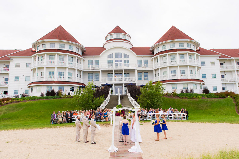 A wedding ceremony at Blue Harbor Resort in Sheboygan, Wisconsin.