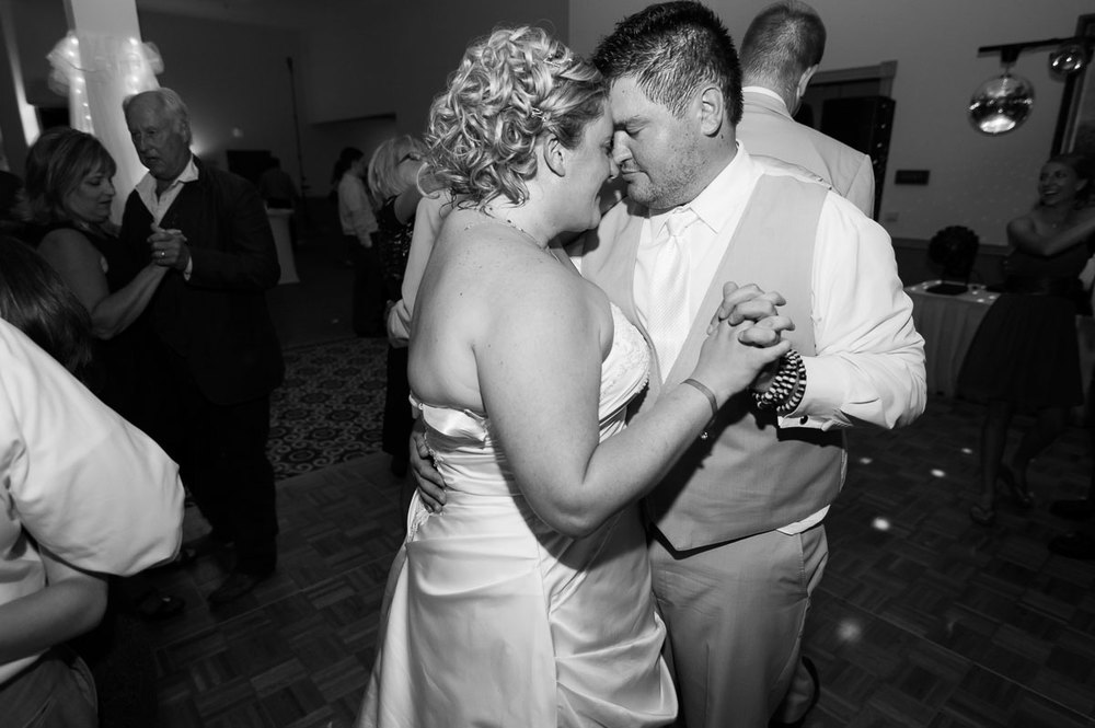 Couple dancing at their Blue Harbor Resort wedding reception.