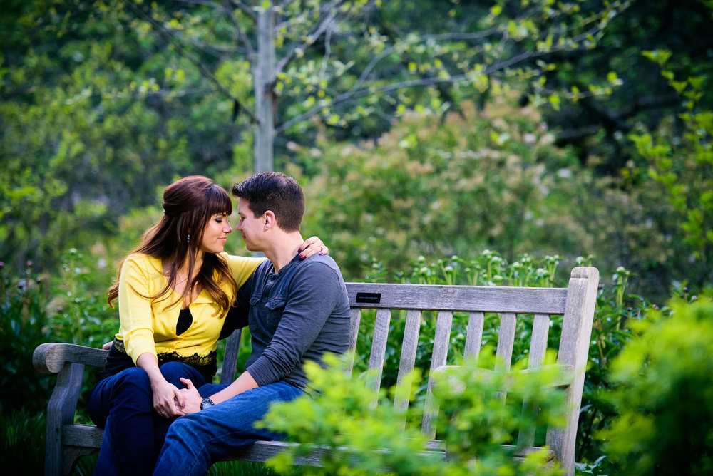 Couple's engagement photos in the fragrance garden at the Morton Arboretum.
