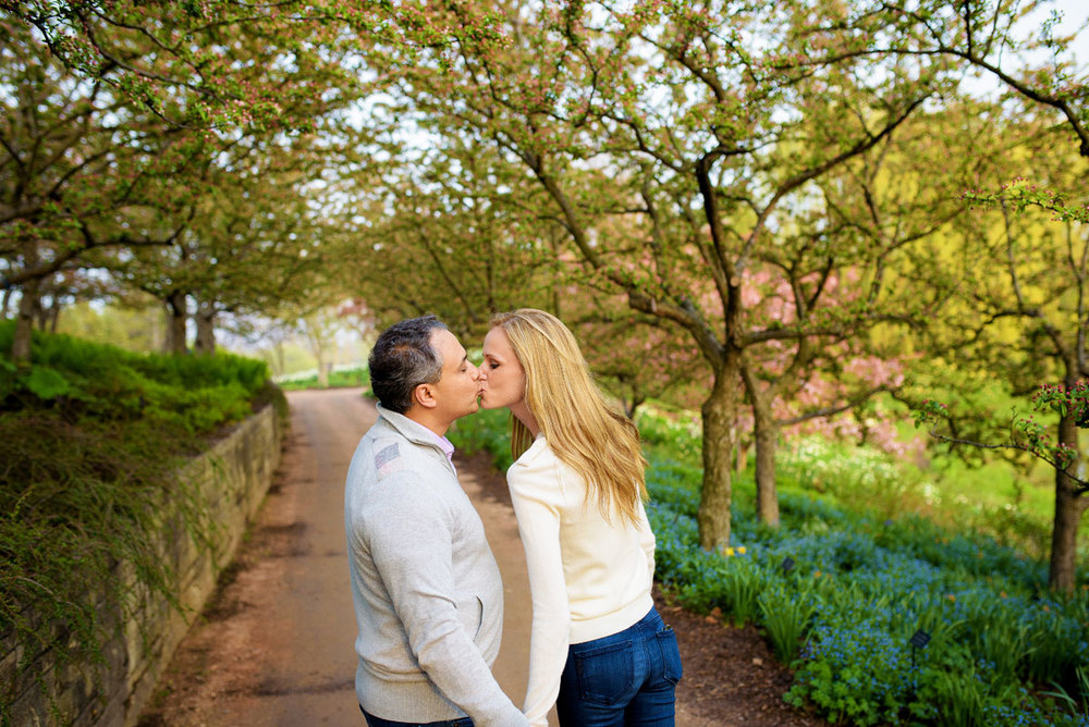 Bride & groom kiss at the Chicago Botanic Gardens during their engagement session.